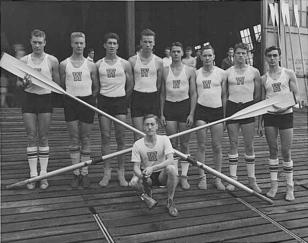 Black and white photo of the UW Men's rowing team