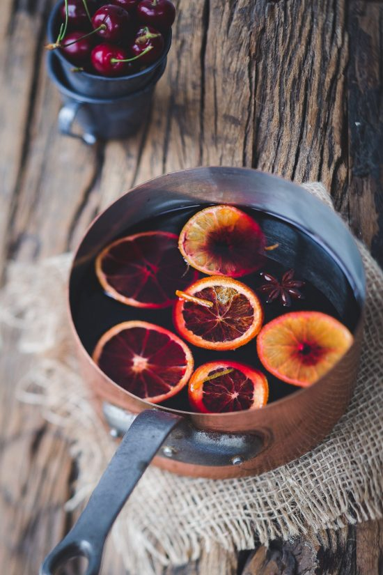 mulled wine in sauce pan