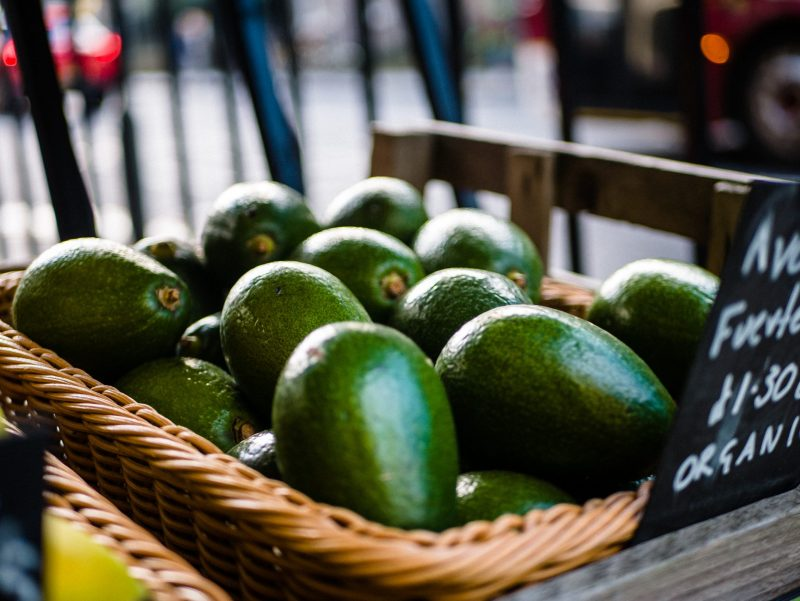 Avocados in basket