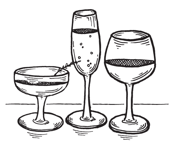 hand drawn wine glasses